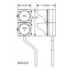 DKS DoorKing 1603-210 Traffic Signal with Mounting Post